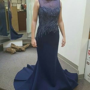 Blue Beaded Formal Gown with FREE Earrings